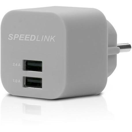 USB nabíjecí adaptér se 2 výstupy SpeedLink Turax SL-7091, šedá