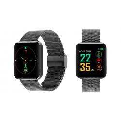 Chytré hodinky S88 s dotykovým displejem a kovovým řemínkem - černá